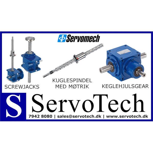 ServoTech Annonce ScrewJacks Kuglespindel med Møtrik Keglehjulsgear Servomech 2017